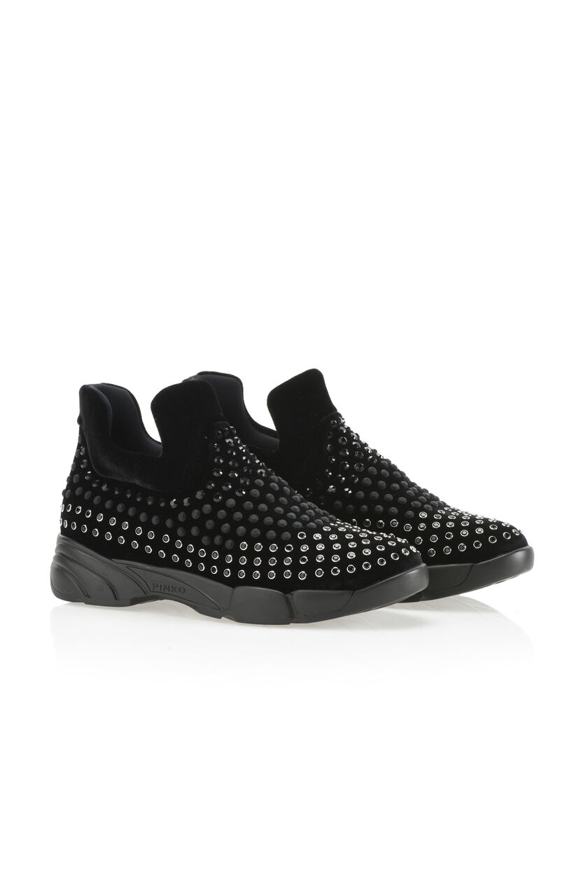Stretch velvet sneaker with rhinestones
