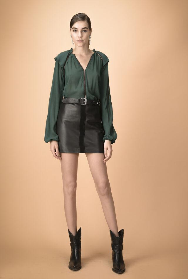 Crepon blouse with laser-cut details