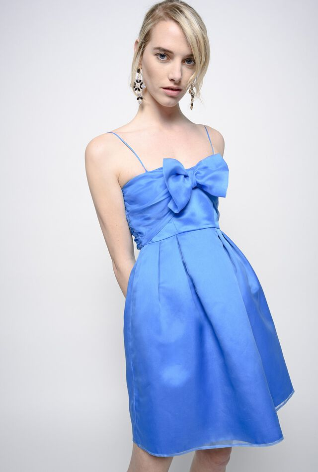 Mini abito con fiocco in organza di seta