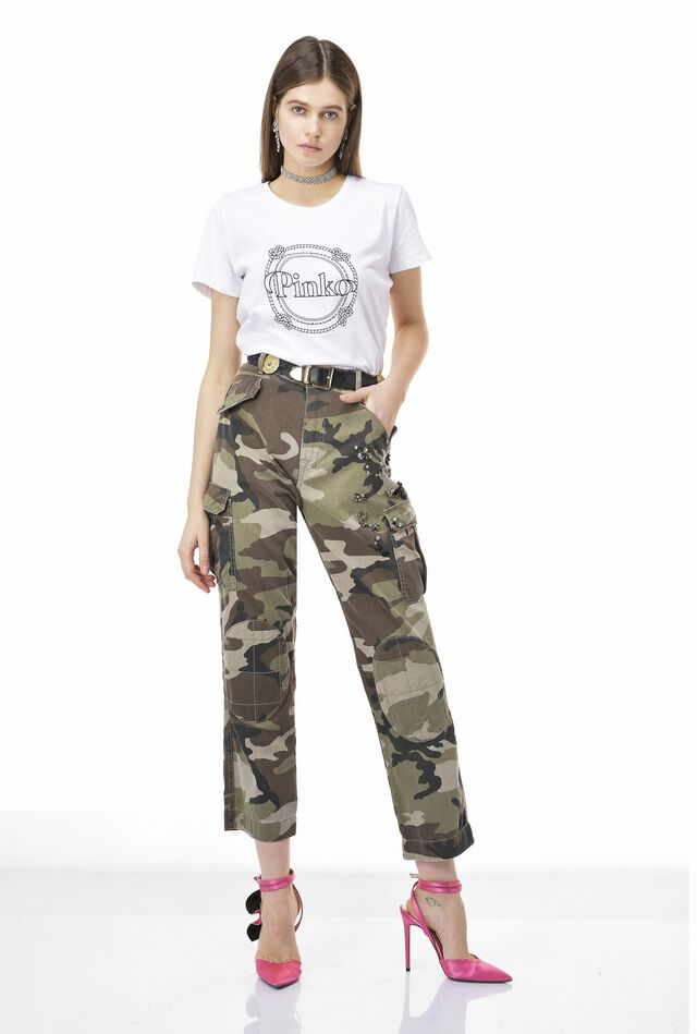 Camouflage trousers with rhinestones