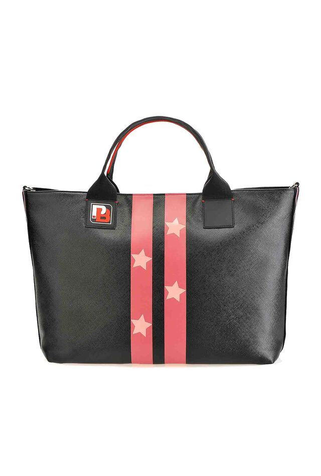 Saffiano-effect PINKO Bag with stars