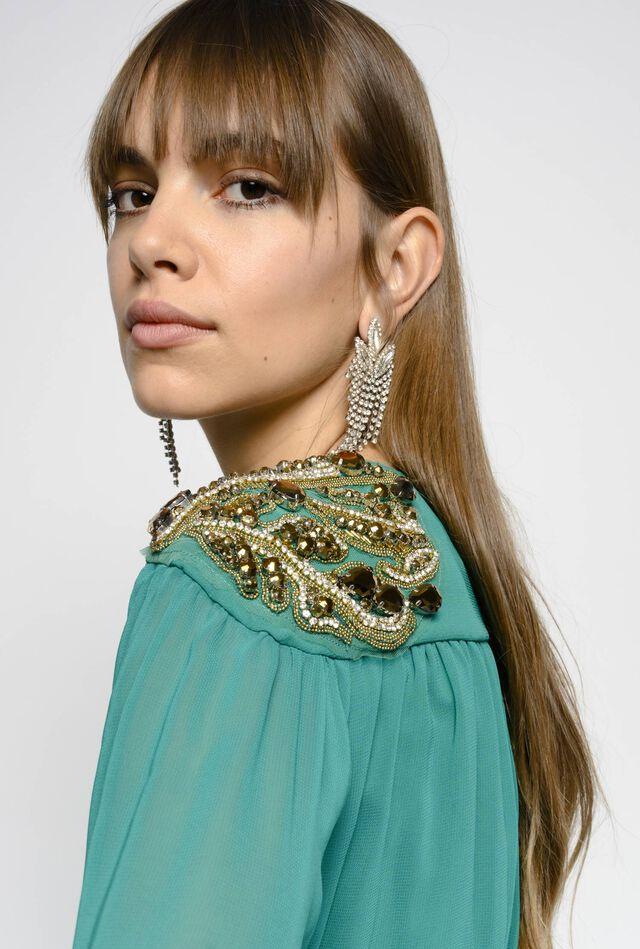 Long dress in viscose georgette