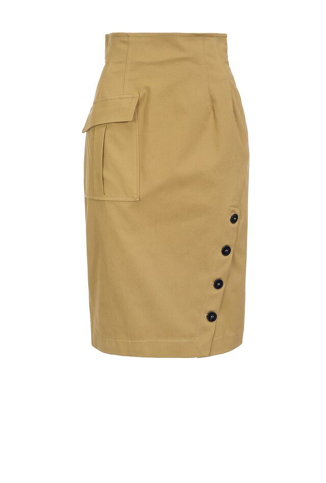 Skirt with pocket and buttons