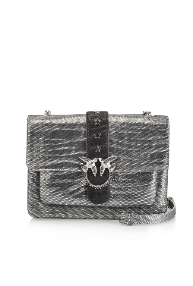 Big Love Bag Soft Zebra Metal in metallic zebra print leather