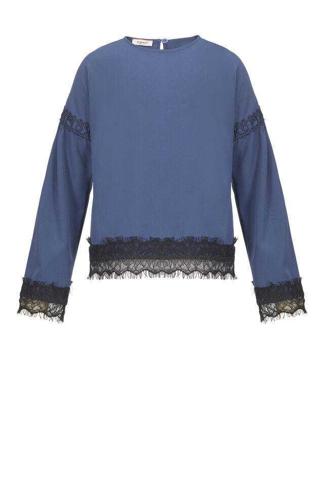 Жоржетовая блуза с кружевом