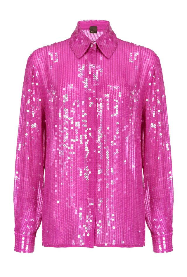 Camicia in full paillettes lucide