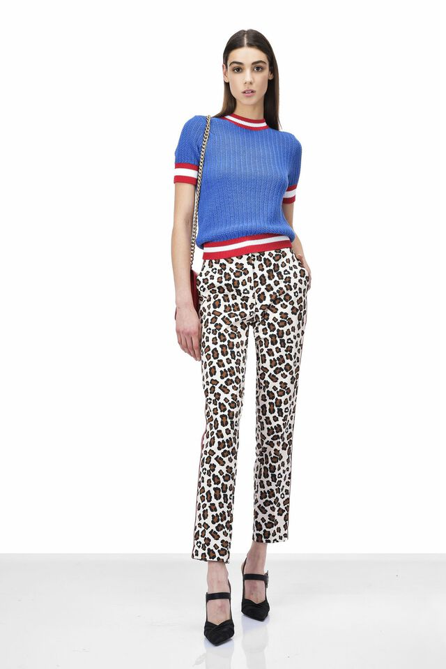 Stretch fabric trousers with animal print