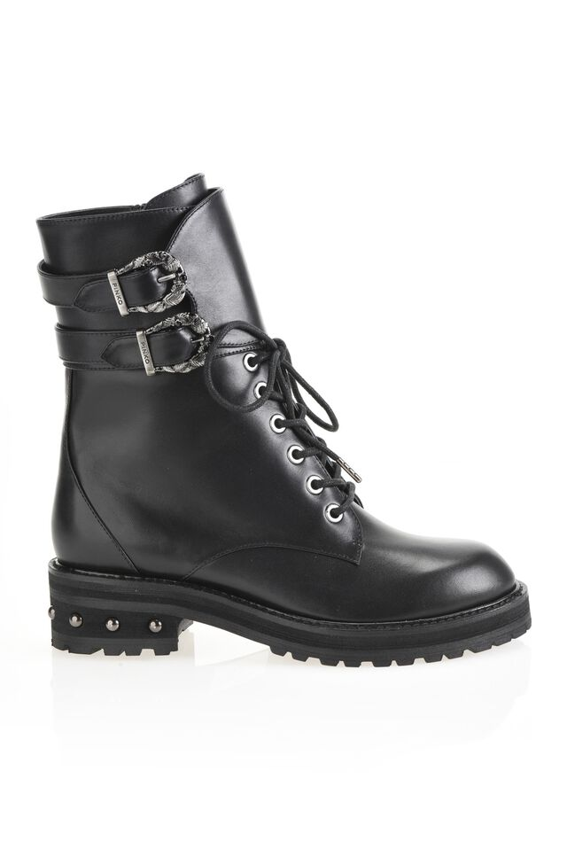 Calfskin leather commando boots with buckles