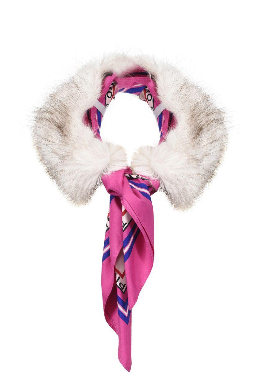 Foulard con inserto di faux fur