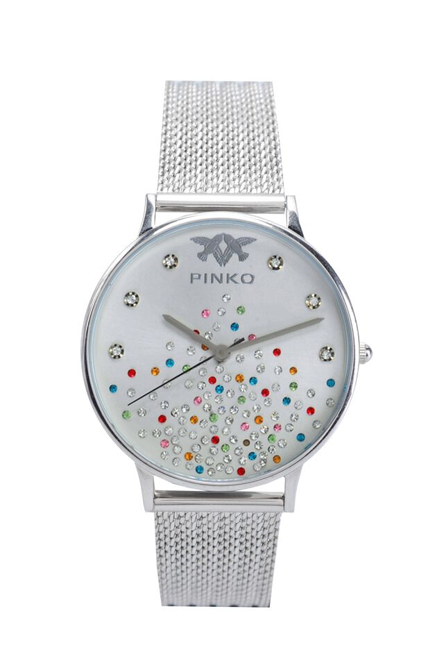 Watch with ribbed silvery metal mesh strap