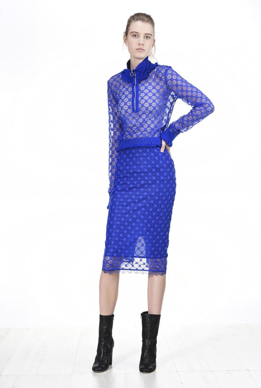 Falda de encaje con fantasía geométrica