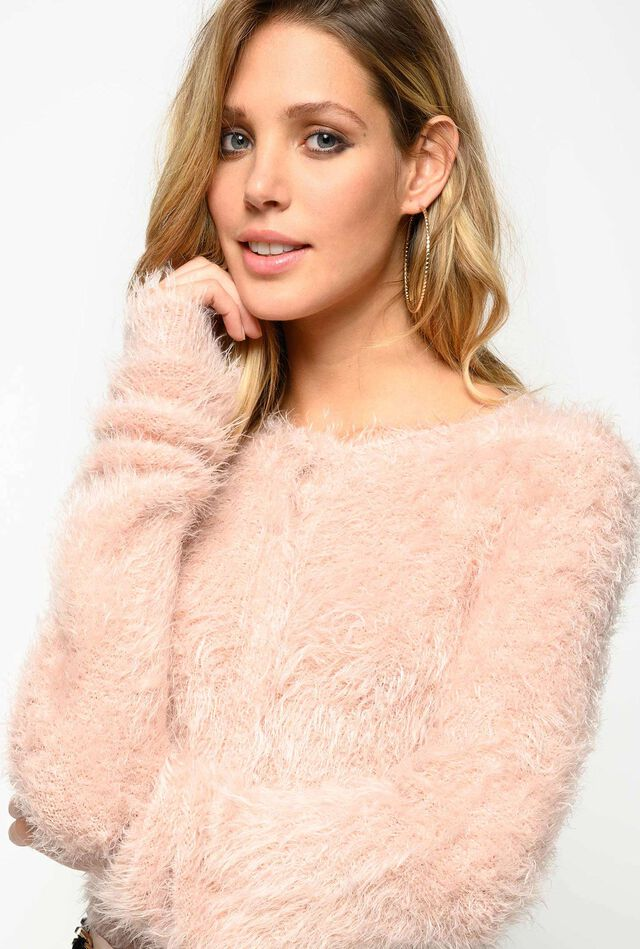 Imitation fur cardigan