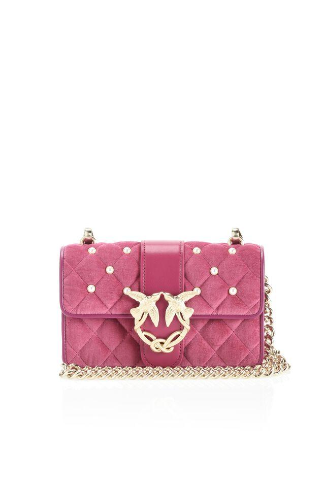 Mini Love Bag in velluto con fibbia gioiello
