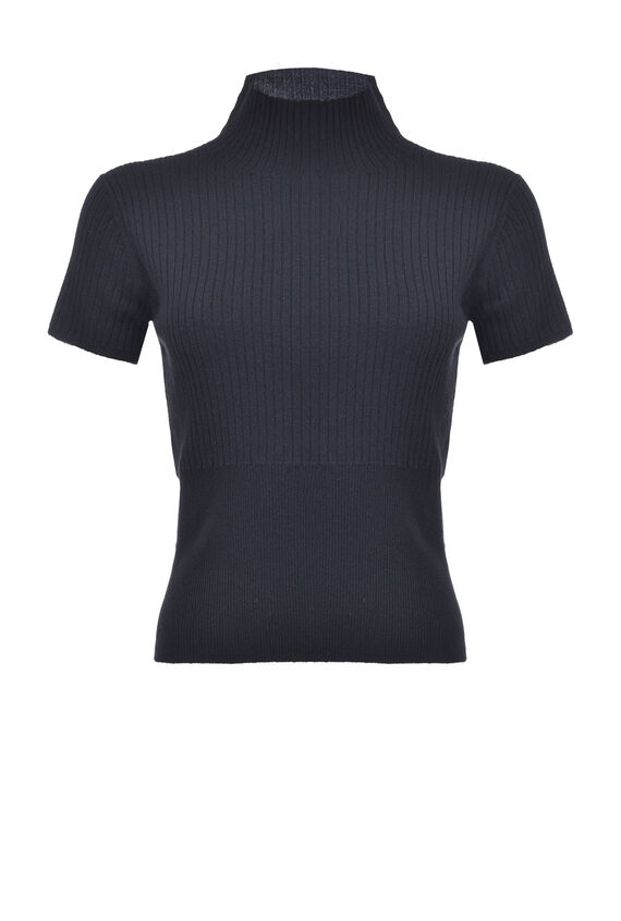 Ribbed Capped Sleeve Sweater