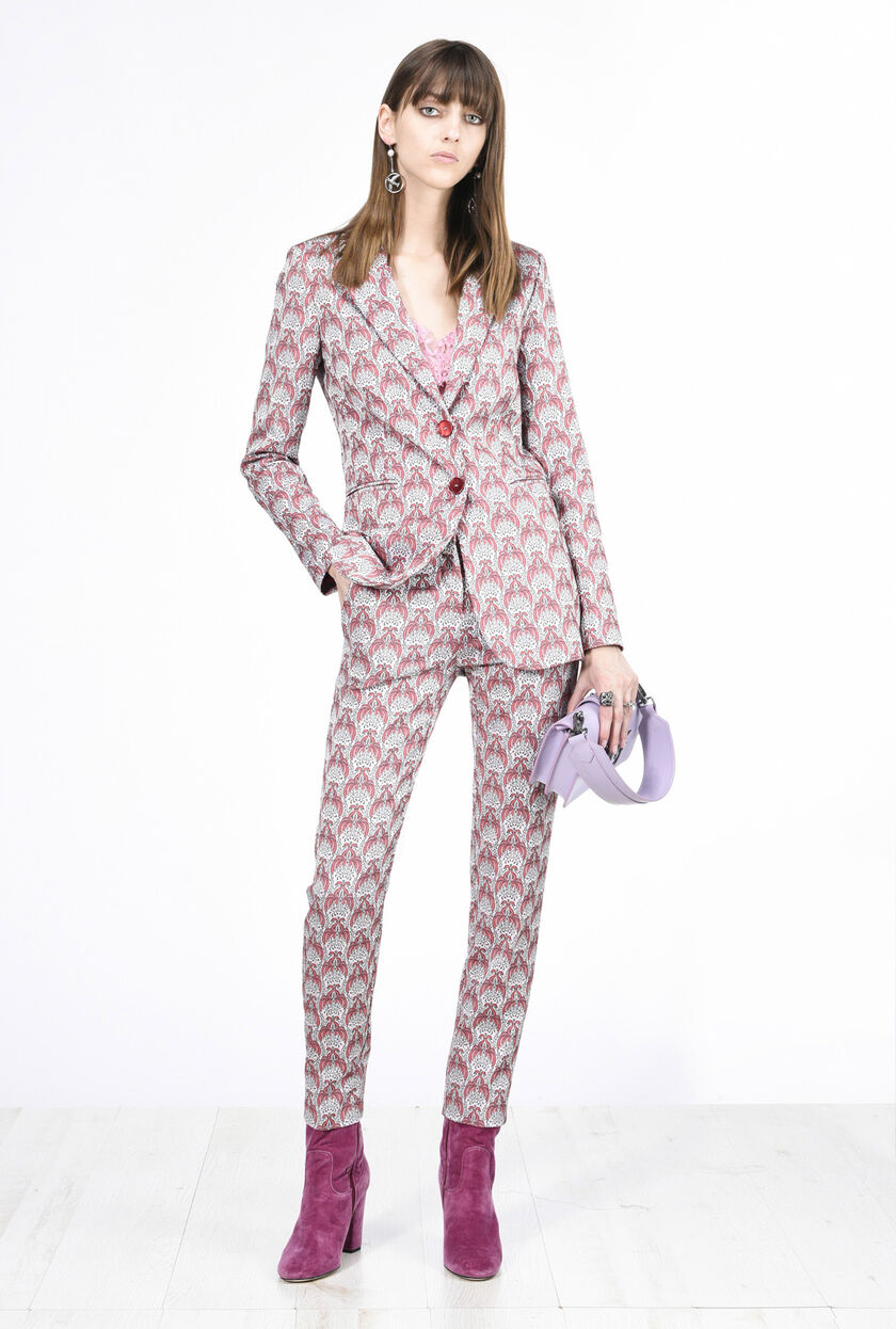Patterned jacquard trousers