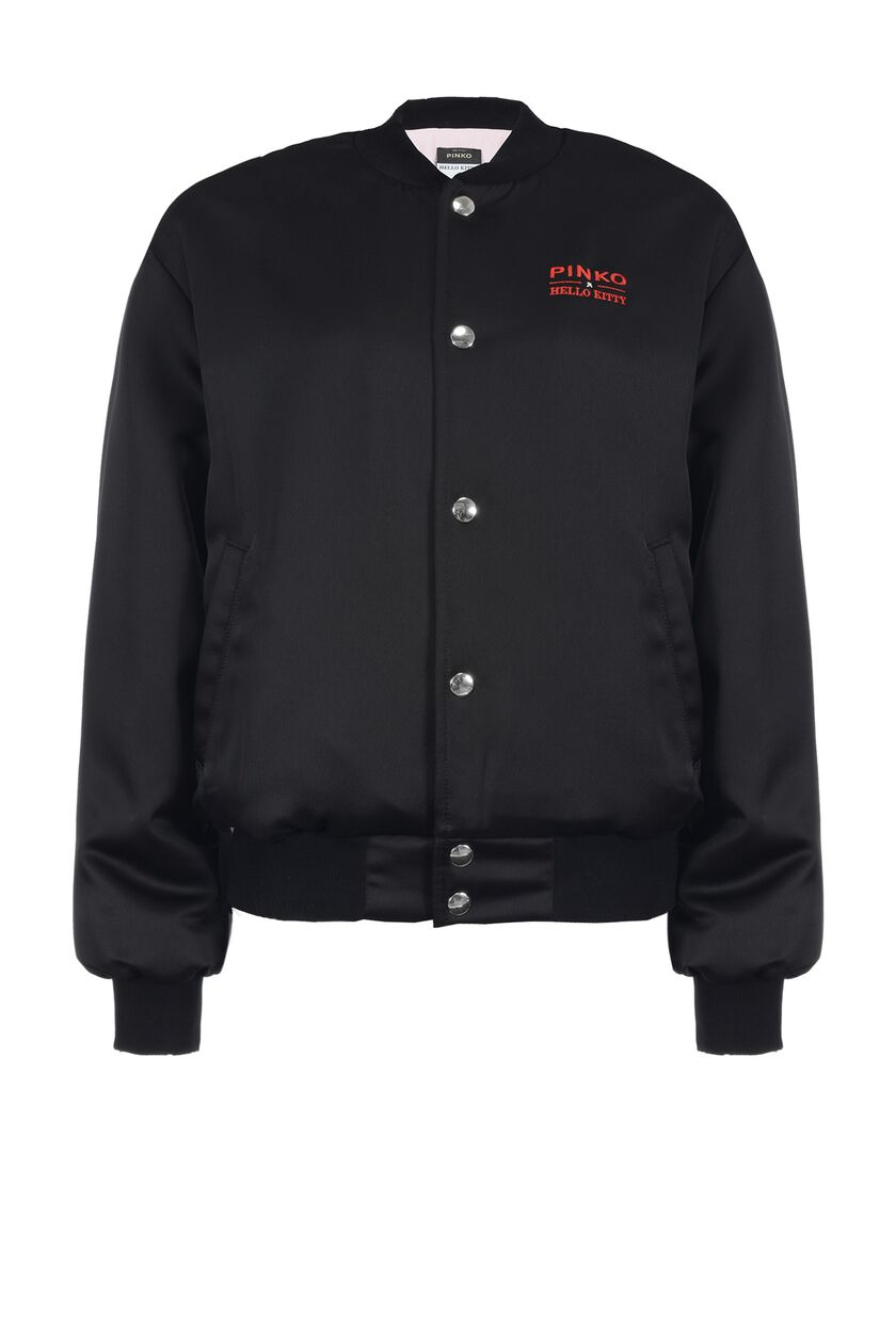 Bomber jacket in envers satin with lace inserts and embroidery