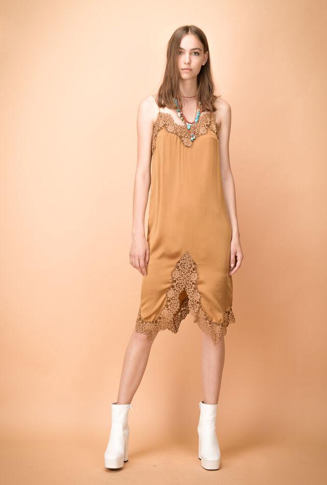 Slip dress with lace trim