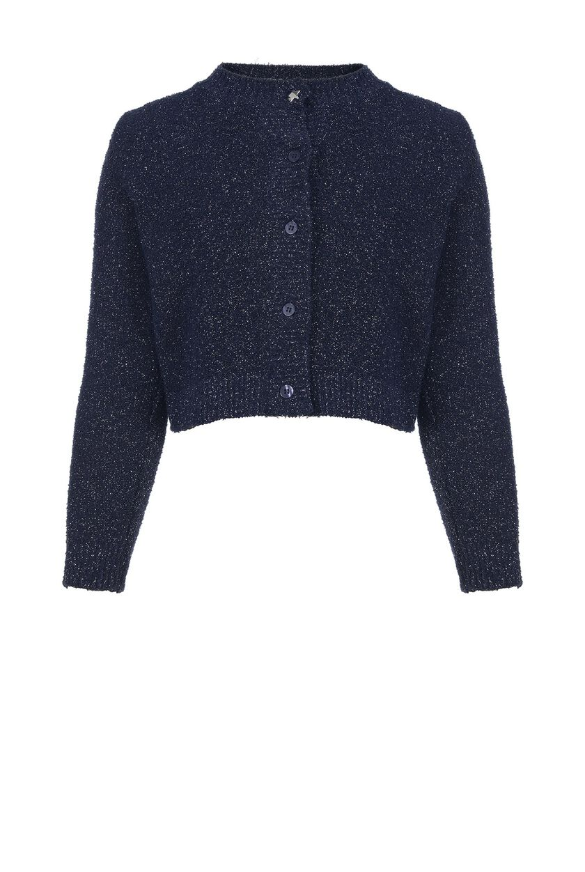 Flat-knit and lurex cardigan