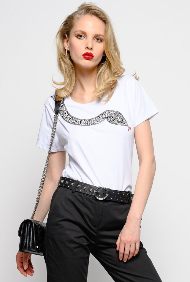 T-shirt in jersey con ricamo snake