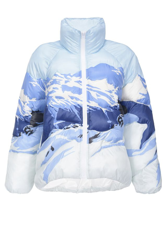 Mountain print duvet coat
