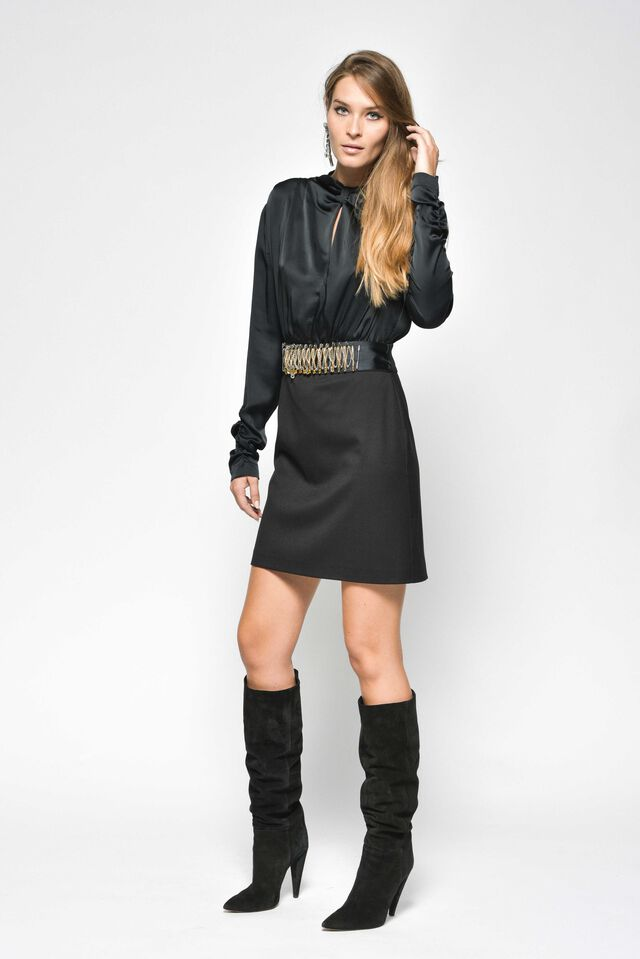 Long-sleeved dress in technical twill