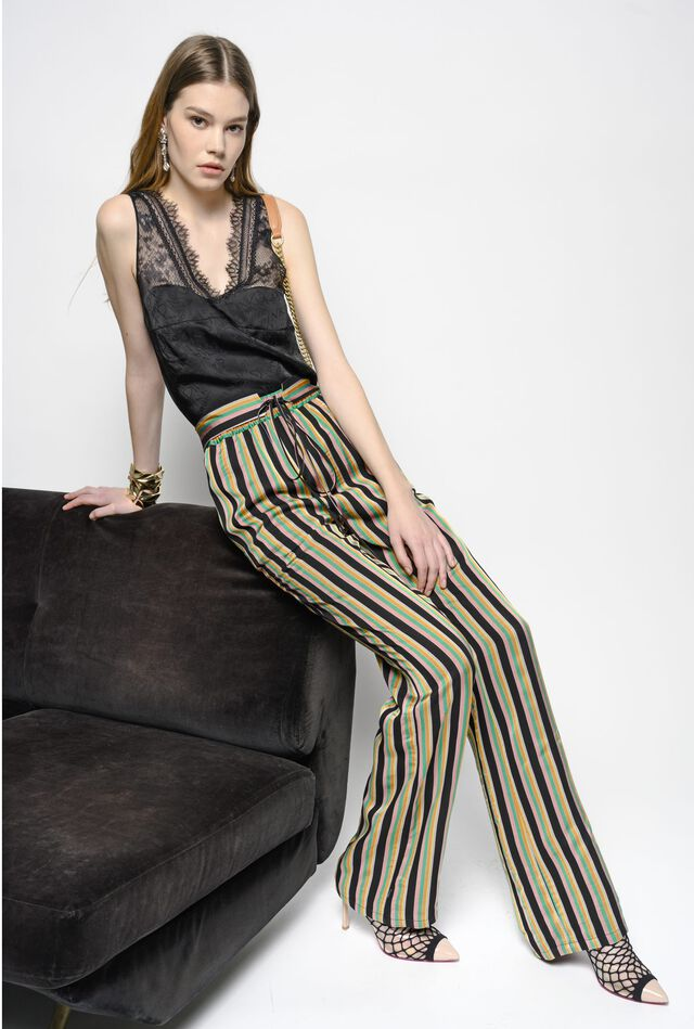 Stripe print viscose trousers