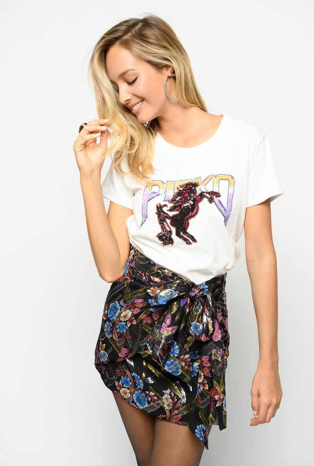 Floral print fil coupé mini skirt