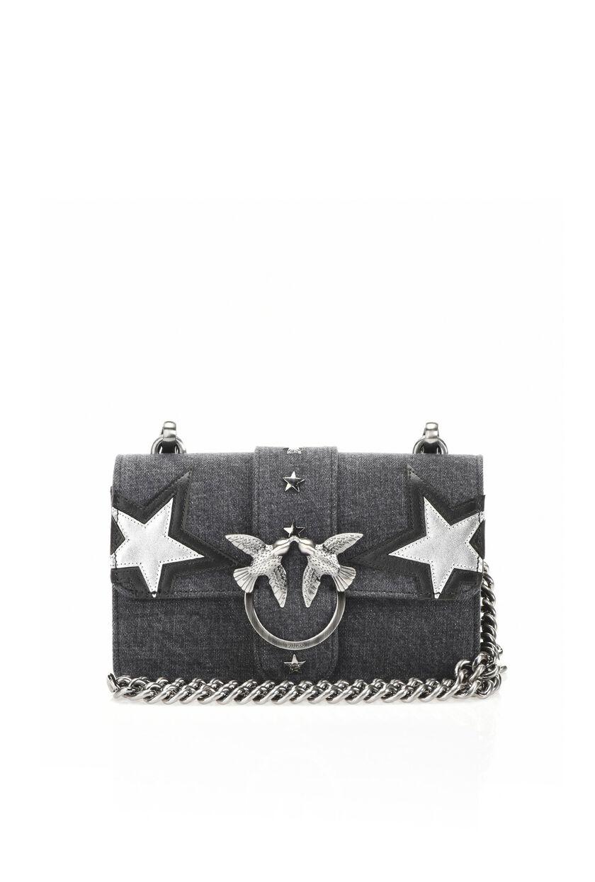 Mini love bag in denim with appliqués