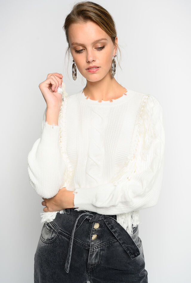 Pullover with fringe Online Exclusive