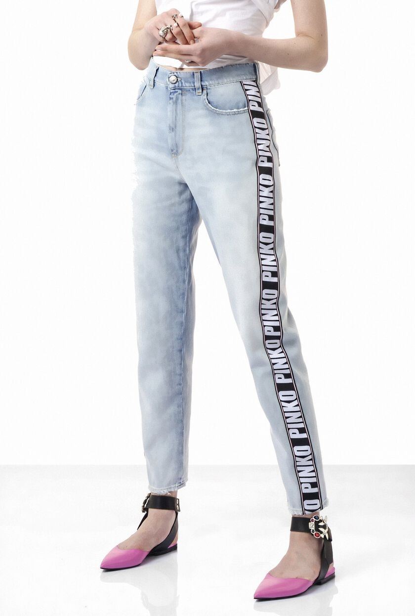High-rise boyfriend jeans with logoed band