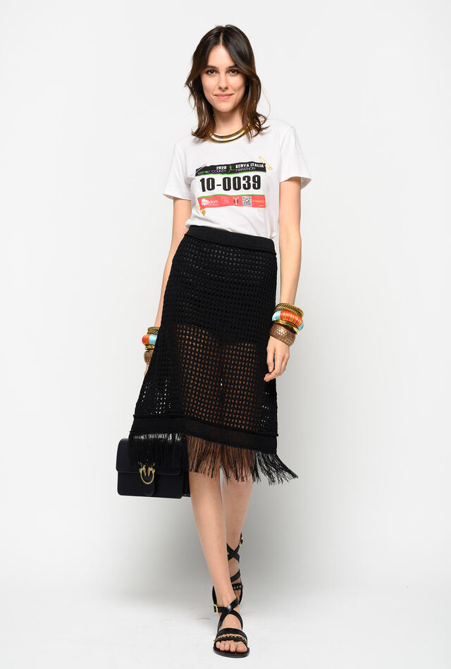 Net stitch weave skirt with fringe