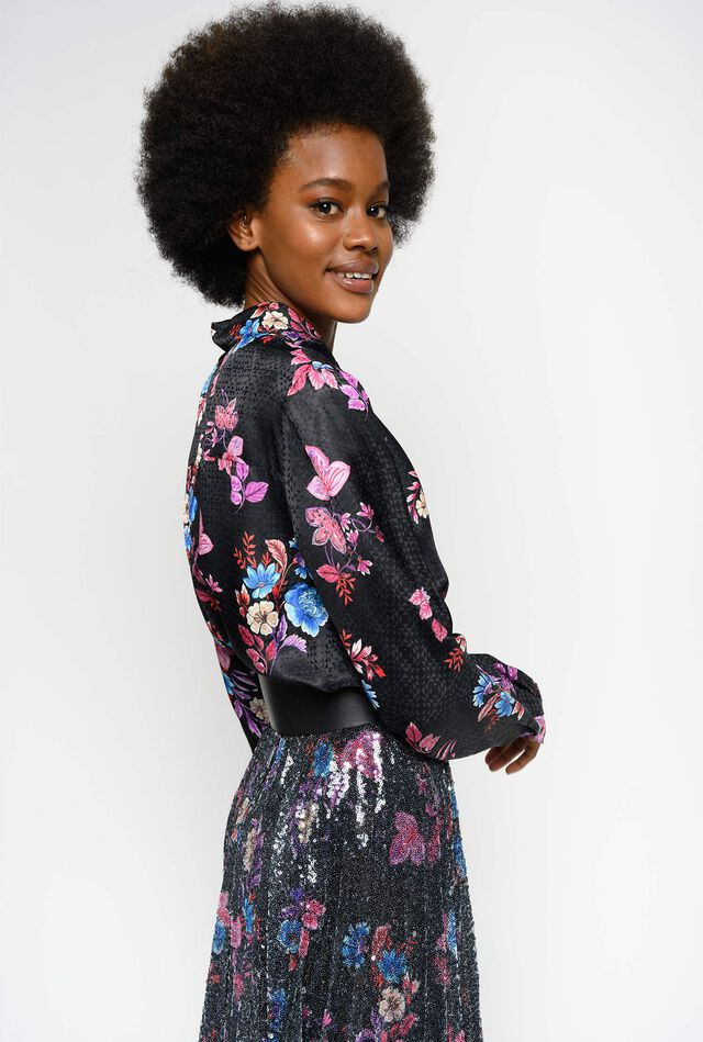 Floral print jacquard shirt