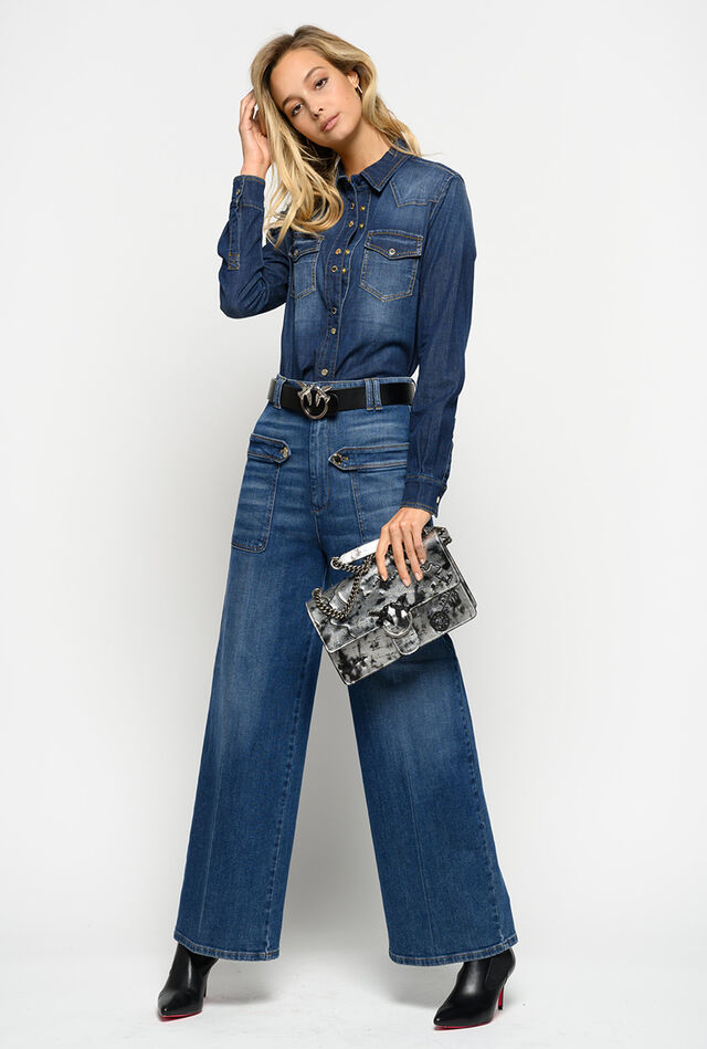 Comfort twill palazzo jeans