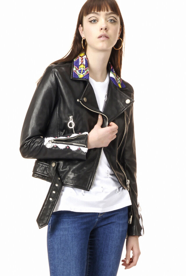 Vegetable-tanned leather biker jacket with embroidery