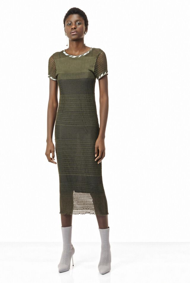 Close-fitting mesh dress