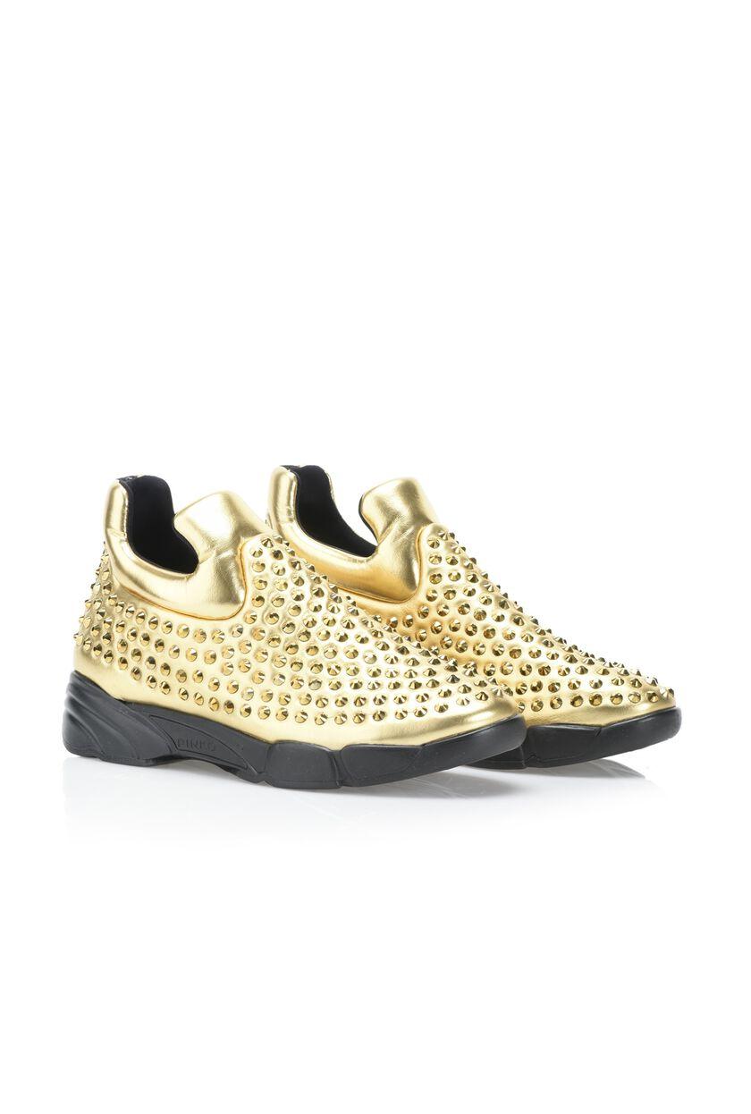 Stretch laminate and rhinestone sneaker