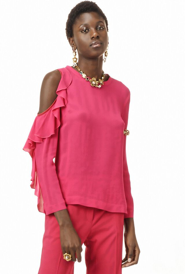 Blouse in viscose crepe de chine with cut-out details
