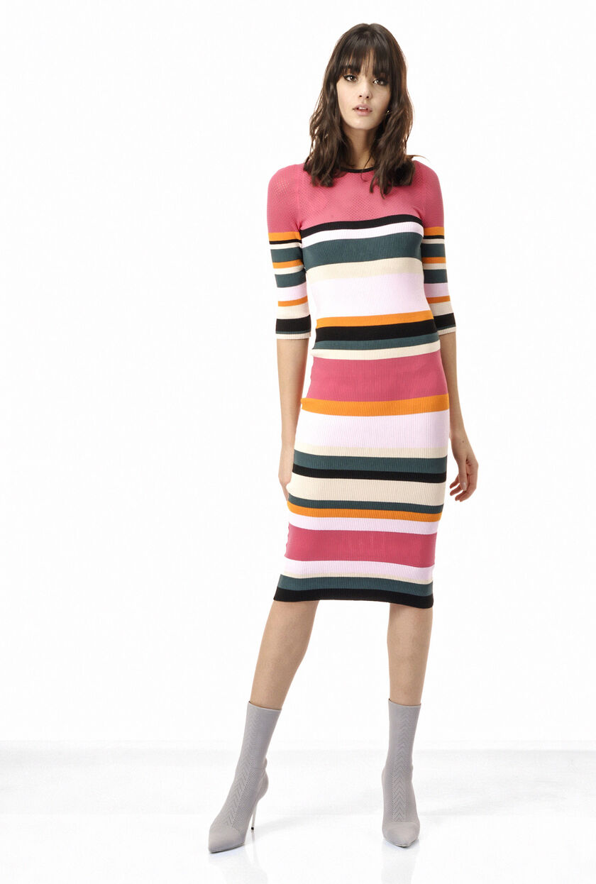 Multi-stripe mid-calf rib knit dress