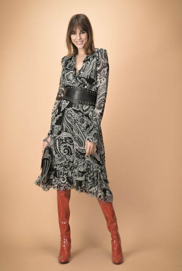 Abito lungo in creponne paisley