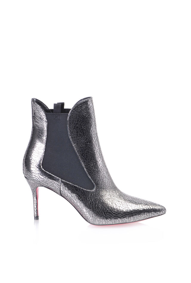 Crackle effect laminated leather ankle boots