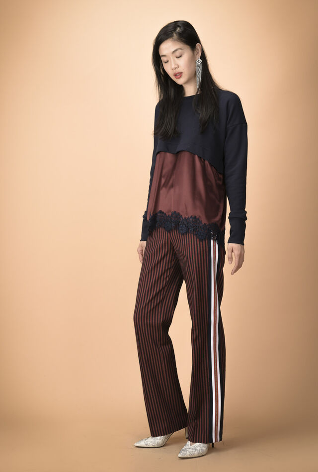 Pantaloni in tessuto gessato con banda laterale