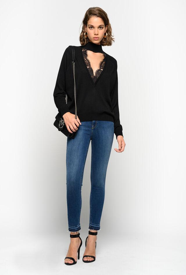Skinny cropped jeans in stretch denim