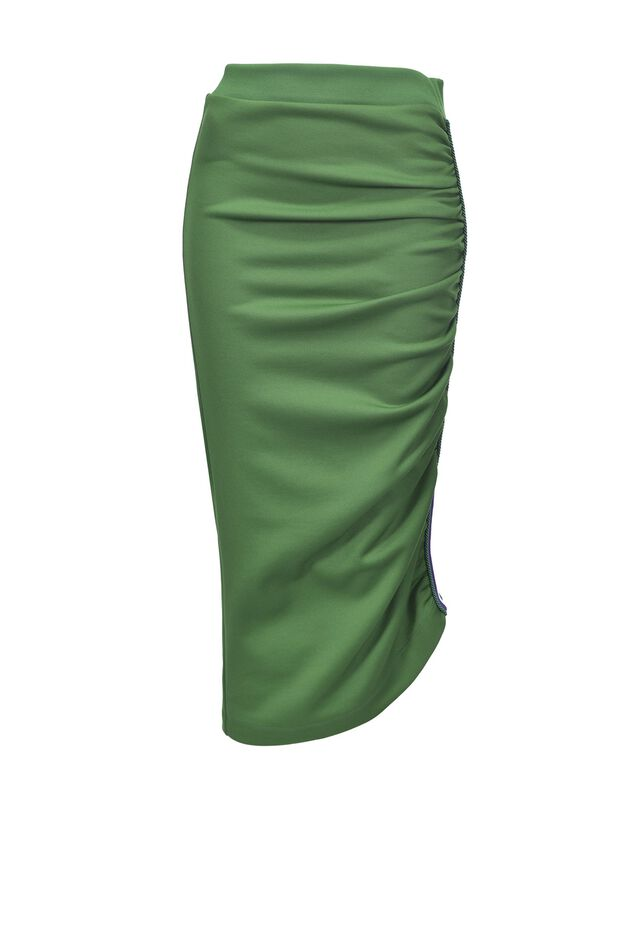 Midi skirt in technical fleece fabric