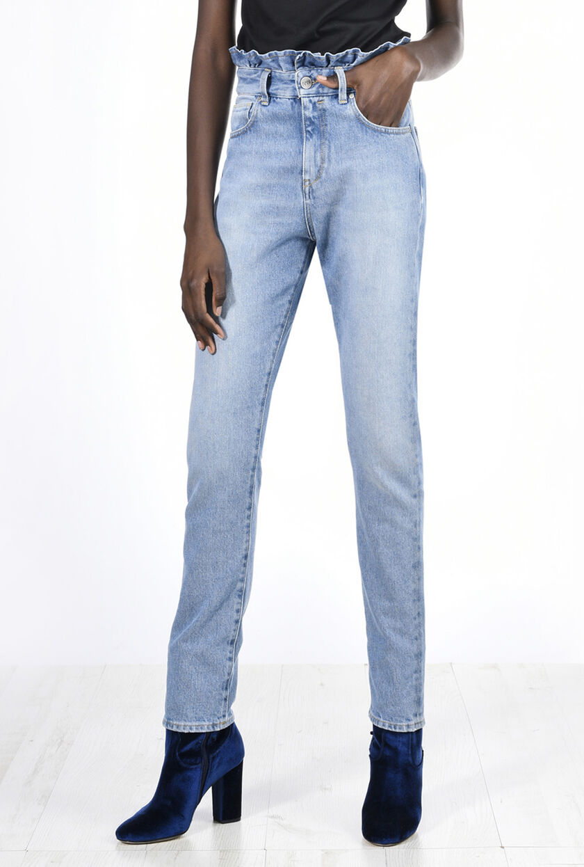 Pantaloni di denim con ruches