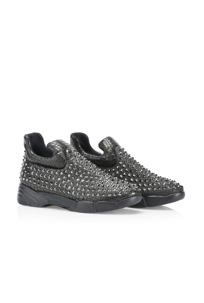 Stretch python print sneaker with rhinestones