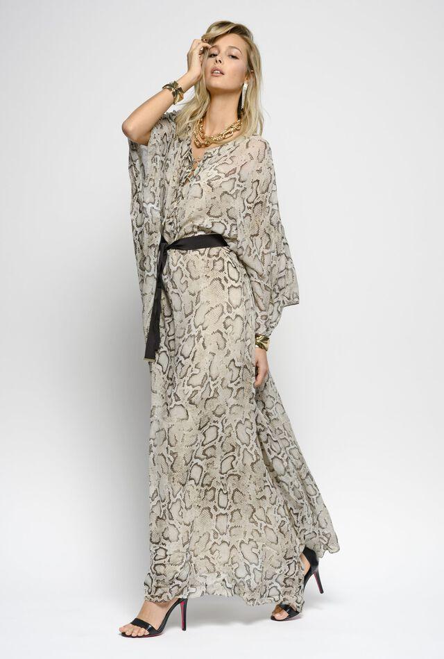 Long dress in snake print georgette