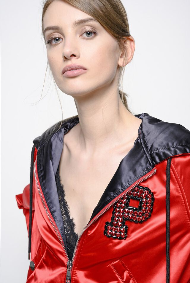 Hooded duchesse bomber jacket