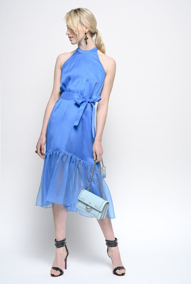 Dress in silk organza with flounce