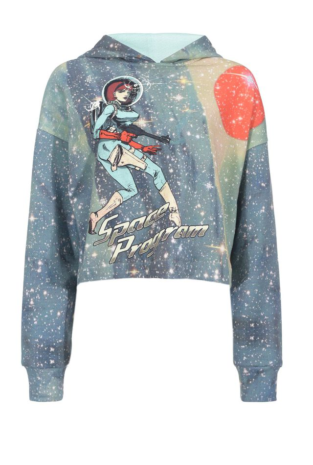 Cropped Space print sweatshirt