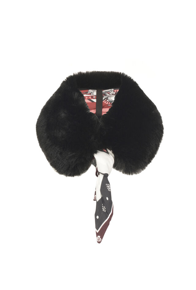 Scarf with faux-fur collar